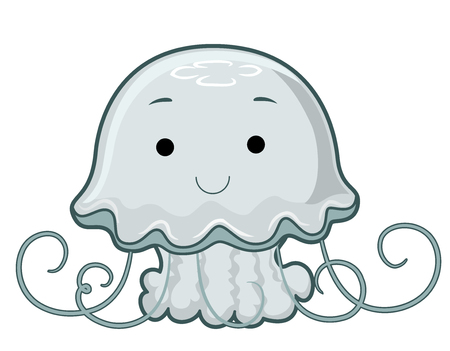Ilustración de una linda medusa con tentáculos rizados