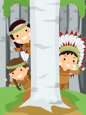 Illustration of Stickman Native American Hiding Behind a Birch Tree