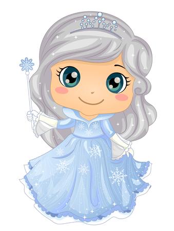 Ilustración de un niño niña princesa de hielo con vestido azul con copos de nieve y corona Ilustración de vector