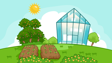 Illustration of a Vegetable Garden Plots, Trees and a Greenhouse Under the Sun Stock Illustratie