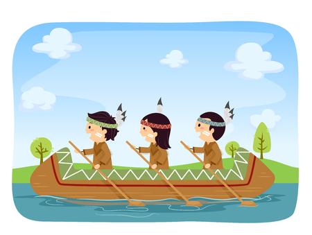 Illustration of Stickman Native American Kids Rowing Canoe in the River Vektoros illusztráció