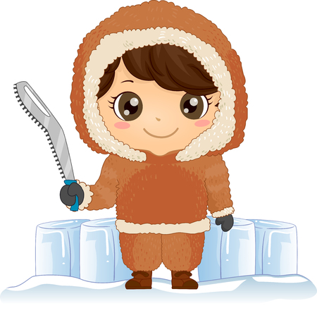 Illustration of a Kid Boy Eskimo Standing and Holding a Snow Saw