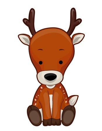 Illustration of a Reindeer Sitting Down