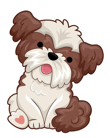 Illustratie van een kleine hond die zijn hoofd kantelt en gaat zitten Vector Illustratie