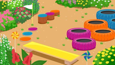 Illustration eines Hindernisparcours im Garten mit gebrauchten Reifen, Baumstämmen, Planken, Fahnen und Windrädern unter den Blumensträuchern