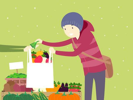 Illustration of a Man Purchasing Vegetables at a Winter Farmers Market Stall Vectores