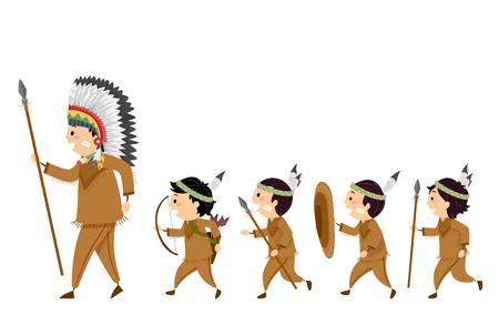 Illustration of Stickman Native American Kids Boys Carrying Spears and Bow and Arrows Following a Man for Hunting