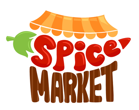 Illustration of a Spice Market Lettering Stall Design