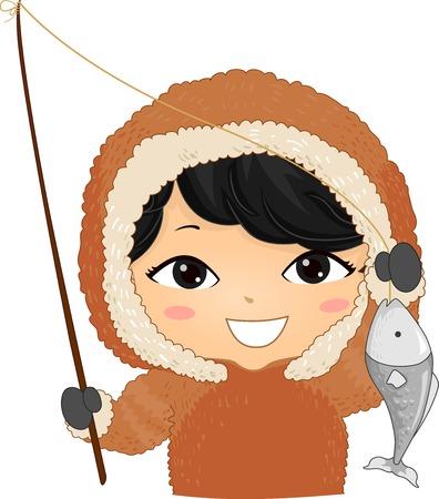 Ilustración de un niño esquimal sosteniendo una caña de pescar y un pez que atrapó Ilustración de vector