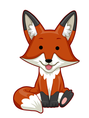 Illustration of a Fox Sitting and Smiling Banque d'images - 114682880