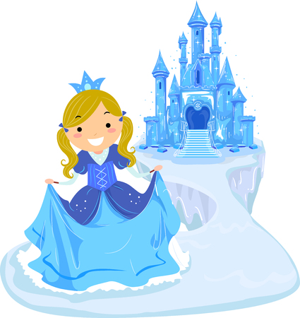 Illustration of a Kid Girl Ice Princess Wearing Gown and Crown In Front of an Ice Castle Illustration