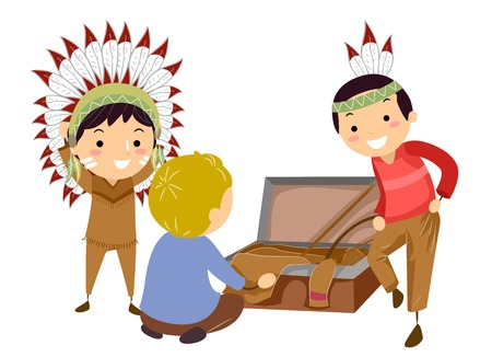 Illustration of Stickman Kids Opening a Costume Chest and Pulling Out Native American Props