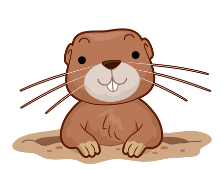 Illustration of a Gopher Smiling From Inside Its Hole