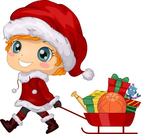 Ilustración de un niño con traje de Papá Noel de Navidad y tirando de un carro lleno de regalos Ilustración de vector