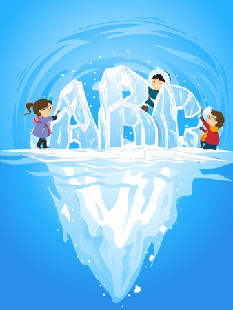 Illustration of Stickman Kids Ice Carving ABC from an Iceberg