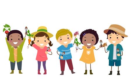Illustration de Stickman Kids Gardening, tenant leur récolte de légumes racines de radis, patate douce, pomme de terre aux carottes