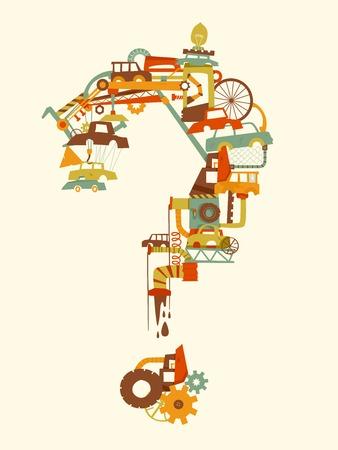Illustration of Junkyard Elements Forming a Question Mark Vettoriali