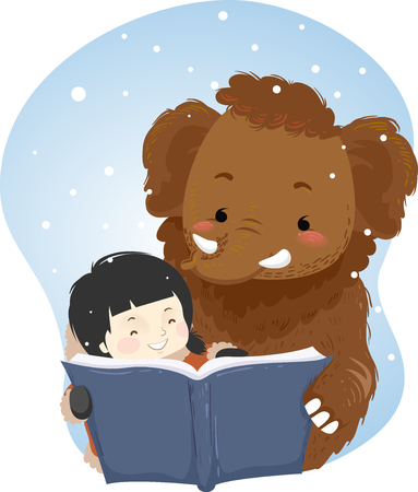 Illustration of a Kid Girl Reading a Book with a Mammoth while Snowing Ilustração