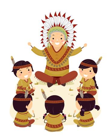 Illustrazione di Stickman Native American Kids seduto intorno a un uomo anziano che racconta una storia