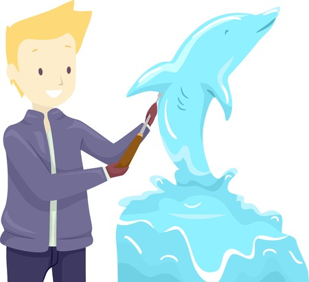 Illustration of a Sculptor Sculpting a Dolphin Ice Sculpture using Chisel