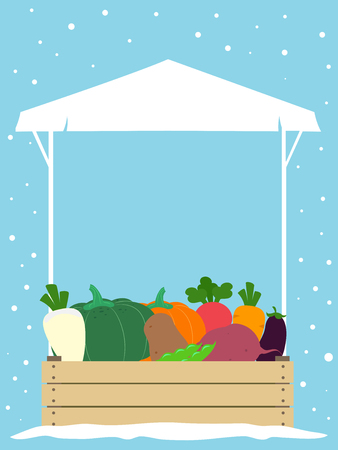 Illustration of a Winter Farmers Market Stall Selling Various Vegetables from Radish to Carrots to Pumpkins