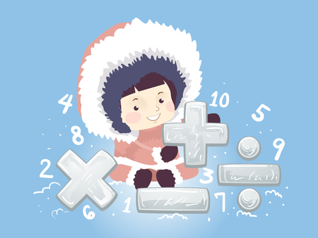 Illustration of a Kid Girl Holding Math Symbols from Plus, Minus, Times, Divide and Numbers