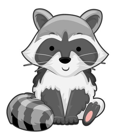Ilustración de un mapache sentado y sonriendo