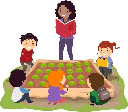 Illustration of Stickman Kids Sitting Around a Cabbage Plot in the Garden Listening to their Teacher