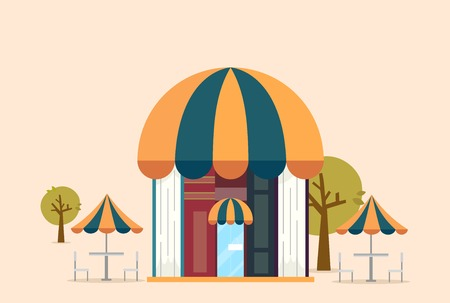 Illustration of a Book Cafe or Store with Trees and Dining Table Outdoors