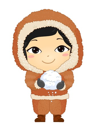 Illustration of a Kid Girl Eskimo Holding a Ball of Snow