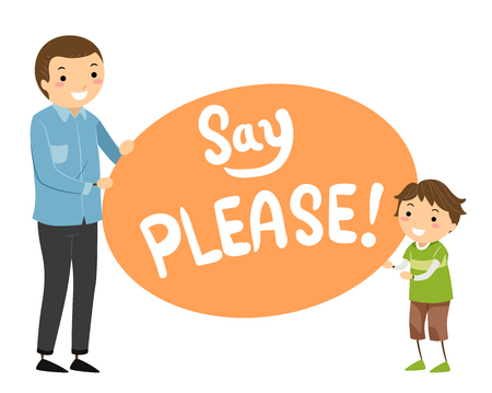 Illustration of a Stickman Father Teaching Son to Say Please Stock Photo