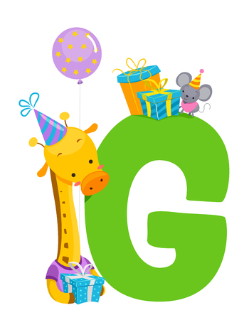 Giraffe with a Letter G and Birthday Balloon, Gifts and Hat
