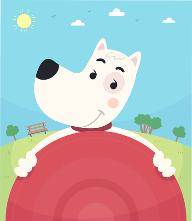 Illustration of a Dog in the Park Holding a Frisbee Inviting to Play