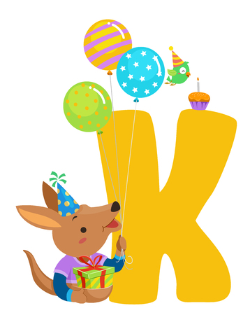 Illustration of a Kangaroo Carrying Birthday Balloons, Hat and Gift