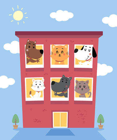 Illustration of a Cats and Dogs Boarding Hotel Building