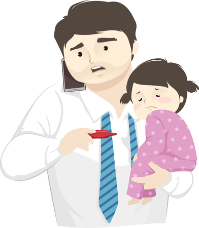 Illustration of a Sick Kid Girl Carried by Her Worried Father on Mobile Phone Looking at Thermometer 版權商用圖片
