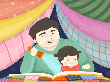Illustration of a Kid Girl and Dad Reading a Story Book Under a Blanket Fort Фото со стока