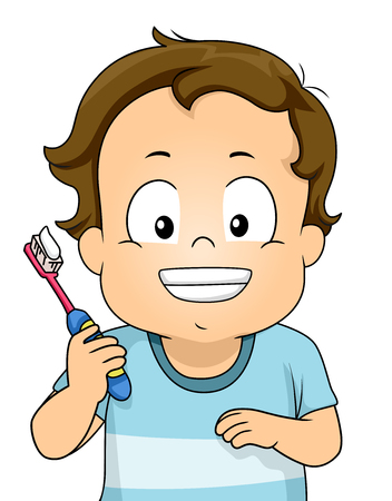 Kid Boy Toddler Smiling and Showing Teeth While Holding a Toothbrush with Toothpaste Banco de Imagens