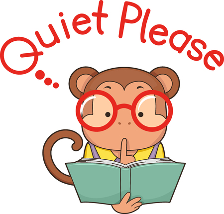 Monkey Holding an Open Book with Finger on Lips Signaling Quiet