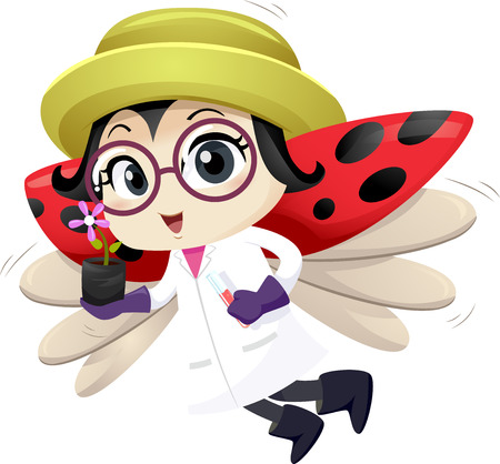 Illustration of a Lady Bug Mascot Botanist Flying and Carrying a Flower Seedling