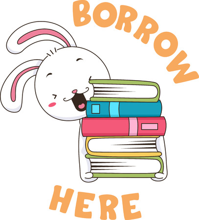Illustration of a Rabbit Carrying Stack of Books with Borrow Here Label for Library