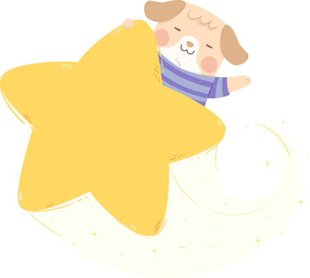 Illustration of a Dog Waving Riding from Behind a Star 版權商用圖片