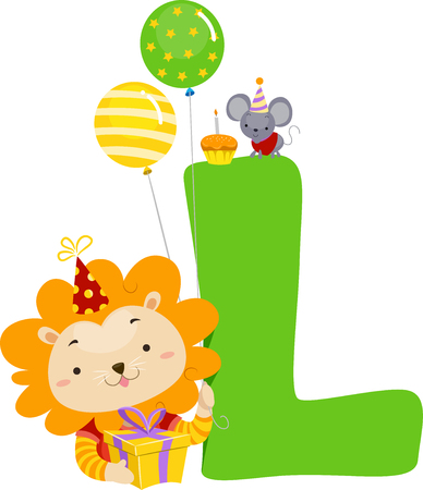 Illustration of a Lion with a Letter L, Birthday Gift, Balloons and Hat