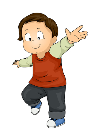 Illustration of a Kid Boy Toddler with Arms Extended and Balancing Himself Stock Photo