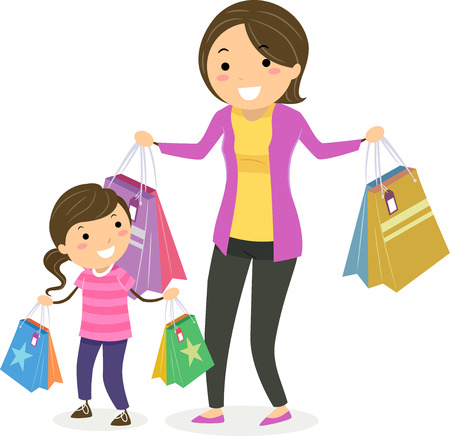 Illustration of Stickman Kid Girl with Mother Carrying Shopping Bags Having Fun Фото со стока