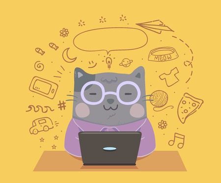 Illustration of a Cat Blogger Using a Laptop with Lifestyle Doodles