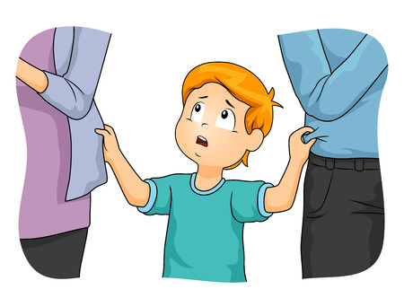 Illustration of a Kid Boy Tugging His Parents Who are Neglecting Him Stock Photo