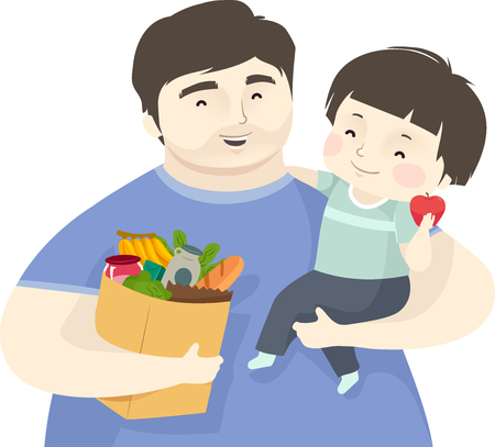 Illustration of a Kid Boy on the Arm of His Father Carrying a Bag Full of Groceries Фото со стока