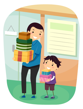 Illustration of a Stickman Kid Boy and Father Carrying Boxes from Shopping Фото со стока
