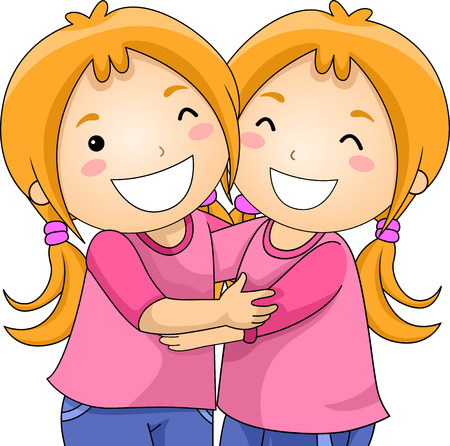 서로 껴안고 같은 옷을 입고 있는 쌍둥이 소녀의 그림 스톡 콘텐츠
